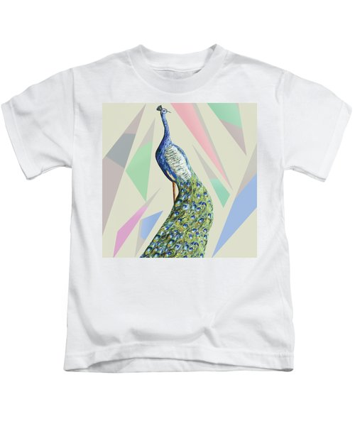 In The Month Of June The Peacock Danced A Kids T-Shirt by Thecla Correya