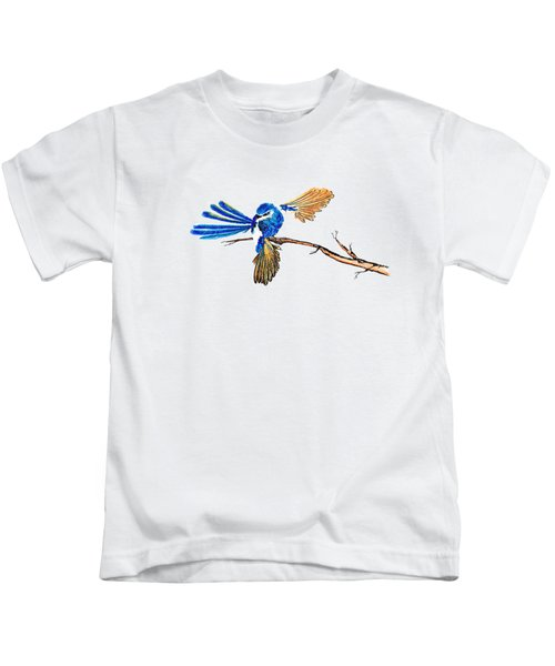 Inked Blue Fairy Wren Kids T-Shirt by Lorraine Kelly