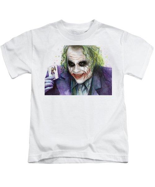 Joker Watercolor Portrait Kids T-Shirt by Olga Shvartsur