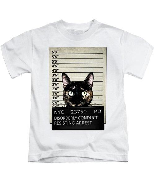 Kitty Mugshot Kids T-Shirt by Nicklas Gustafsson