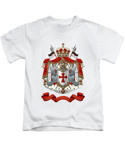Knights Templar - Coat Of Arms Over White Leather Kids T-Shirt by Serge Averbukh