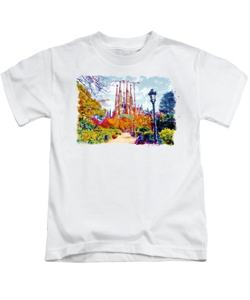 La Sagrada Familia - Park View Kids T-Shirt by Marian Voicu