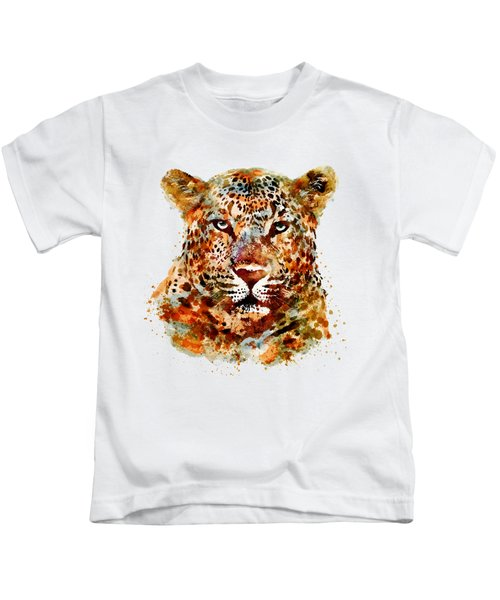 Leopard Head Watercolor Kids T-Shirt by Marian Voicu