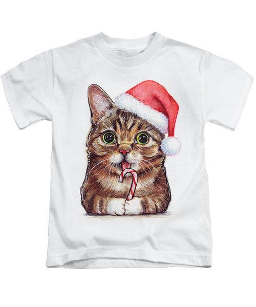Lil Bub Cat In Santa Hat Kids T-Shirt by Olga Shvartsur