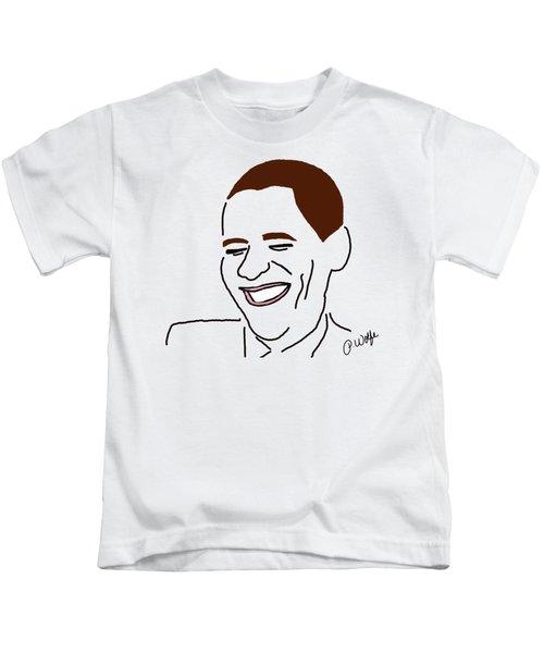 Line Art Man Kids T-Shirt by Priscilla Wolfe