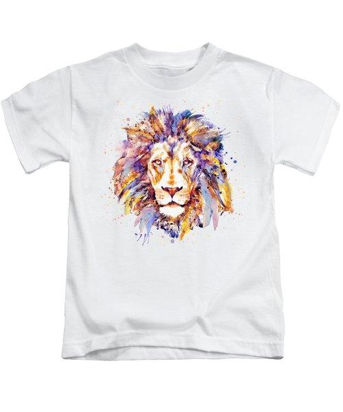 Lion Head Kids T-Shirt by Marian Voicu