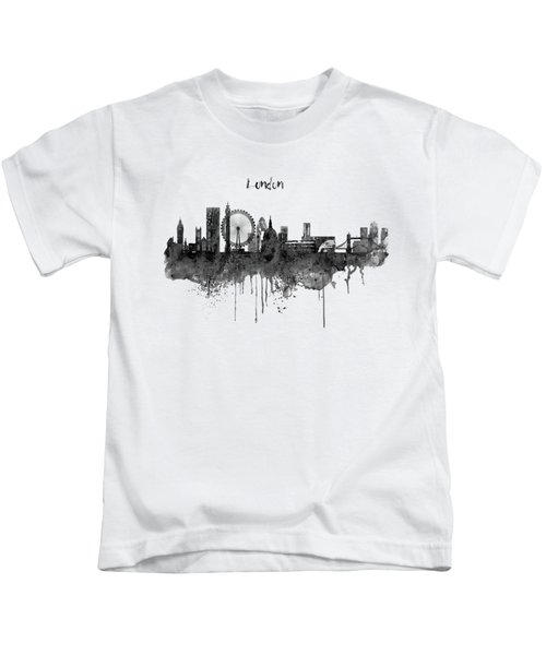 London Black And White Skyline Watercolor Kids T-Shirt by Marian Voicu