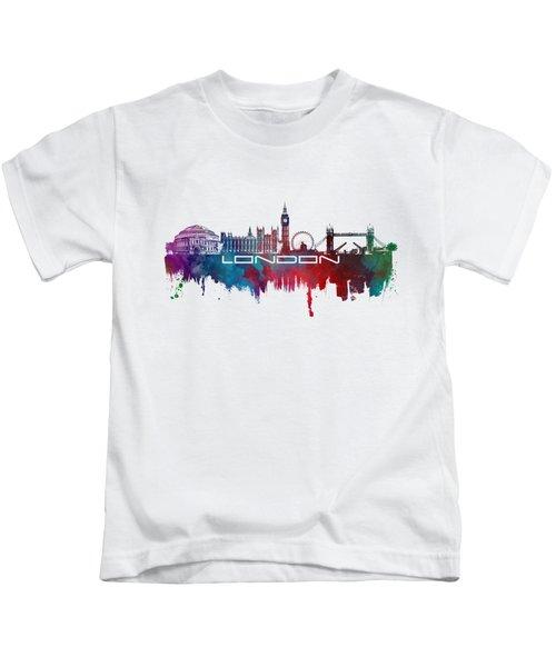 London Skyline City Blue Kids T-Shirt by Justyna JBJart