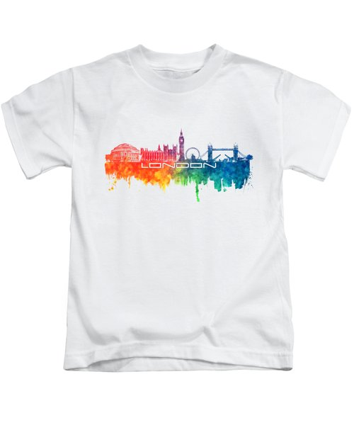 London Skyline City Color Kids T-Shirt by Justyna JBJart