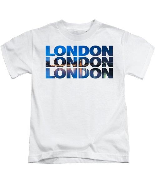 London Text Kids T-Shirt by Matt Malloy