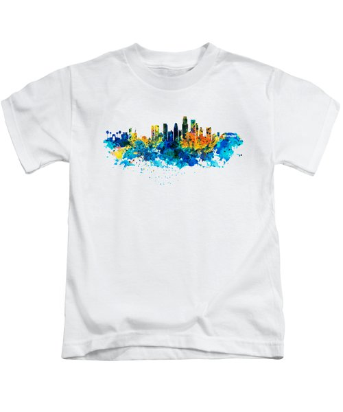 Los Angeles Skyline Kids T-Shirt by Marian Voicu
