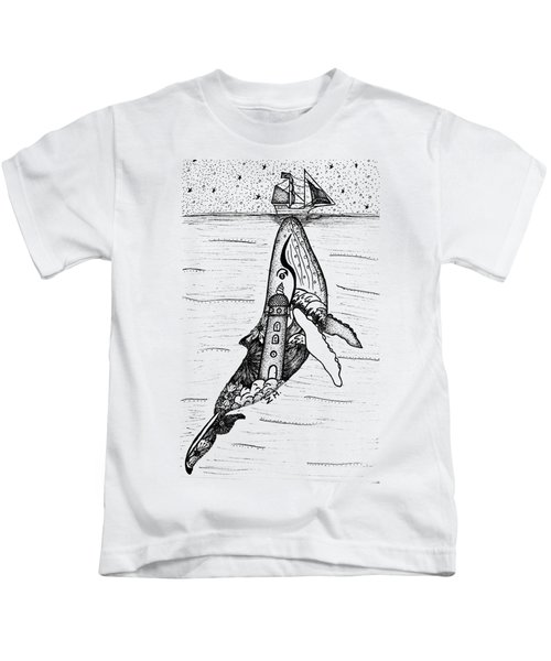 Lost With A Whale Kids T-Shirt by Manon ZAMPIERI