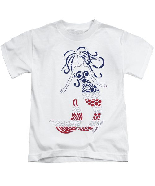 Made In The Usa Tribal Mermaid Kids T-Shirt by Heather Schaefer