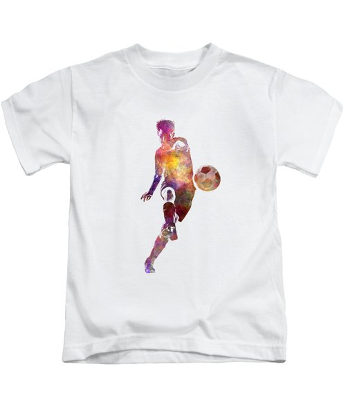Man Soccer Football Player 10 Kids T-Shirt by Pablo Romero