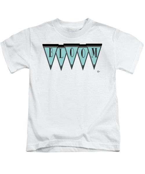 Pennant Deco Blues Message Bloom Kids T-Shirt by Cecely Bloom