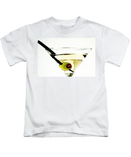 Martini With Green Olive Kids T-Shirt by Sharon Cummings