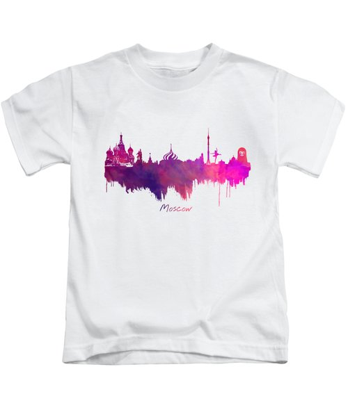 Moscow Russia Skyline Purple Kids T-Shirt by Justyna JBJart