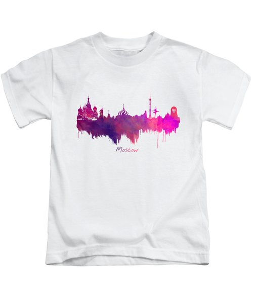 Moscow Skyline Purple Kids T-Shirt by Justyna JBJart