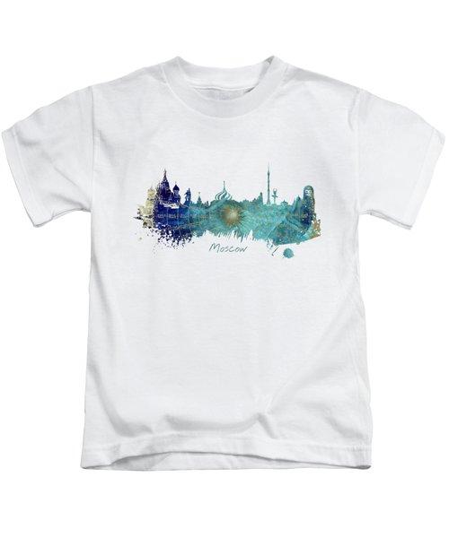 Moscow Skyline Wind Rose Kids T-Shirt by Justyna JBJart