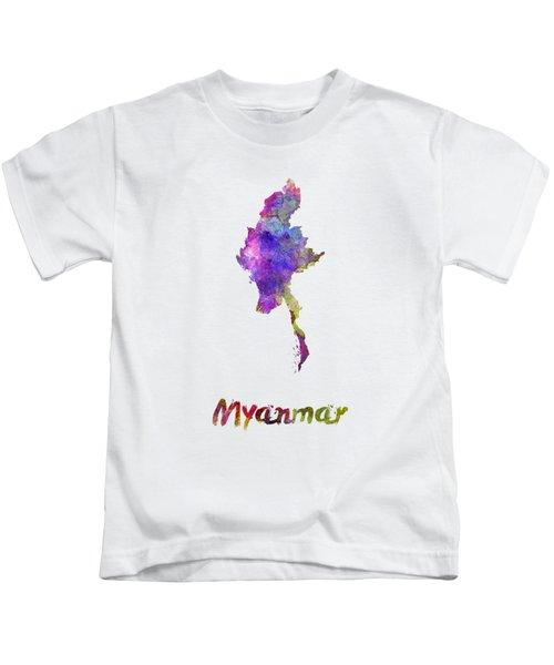 Myanmar In Watercolor Kids T-Shirt by Pablo Romero