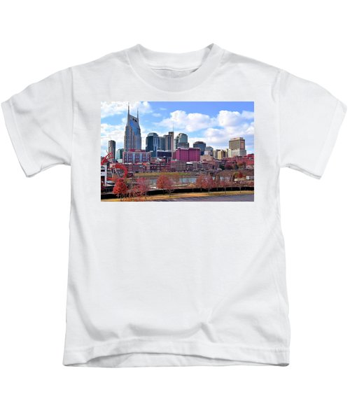 Nashville On The Riverfront Kids T-Shirt by Frozen in Time Fine Art Photography