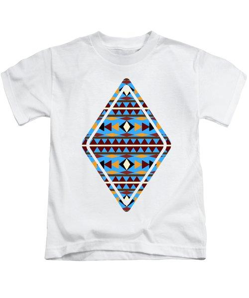 Navajo Blue Pattern Art Kids T-Shirt by Christina Rollo