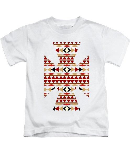 Navajo White Pattern Art Kids T-Shirt by Christina Rollo