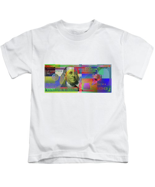 2009 Series Pop Art Colorized U. S. One Hundred Dollar Bill  V.3.0 Kids T-Shirt by Serge Averbukh