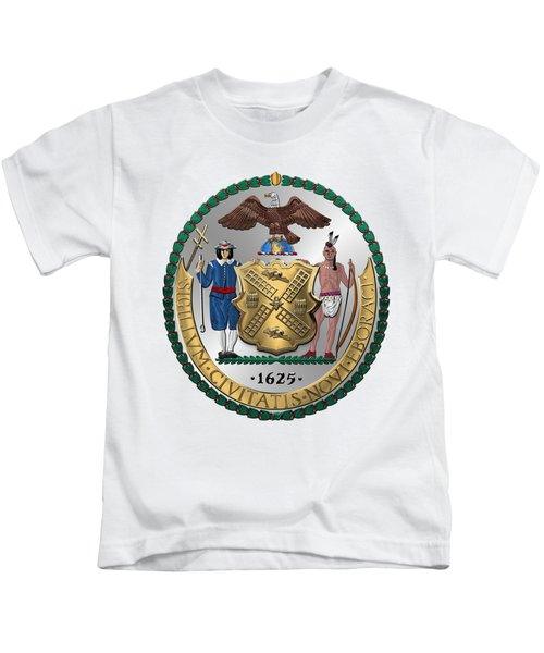 New York City Coat Of Arms - City Of New York Seal Over White Leather  Kids T-Shirt by Serge Averbukh