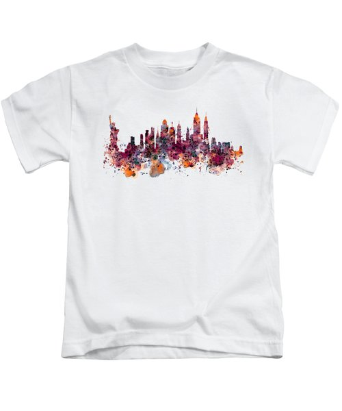 New York Skyline Watercolor Kids T-Shirt by Marian Voicu