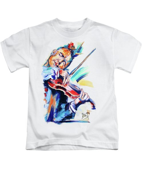 Nigel Kennedy Kids T-Shirt by Melanie D