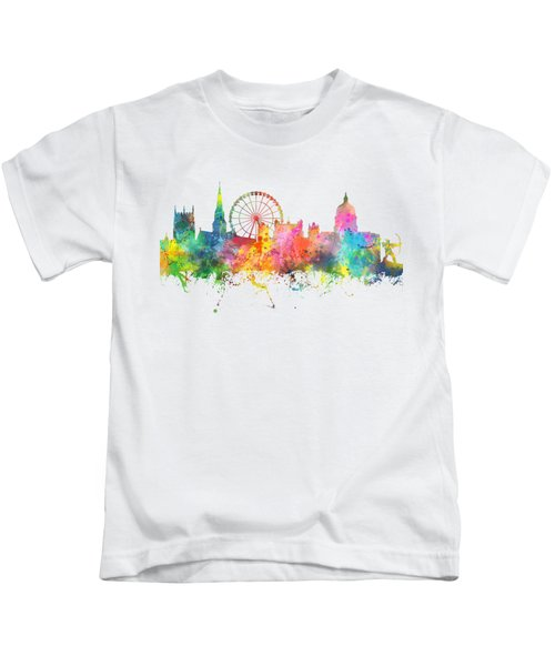 Nottingham  England Skyline Kids T-Shirt by Marlene Watson