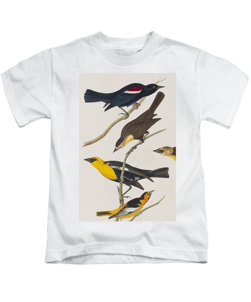Nuttall's Starling Yellow-headed Troopial Bullock's Oriole Kids T-Shirt by John James Audubon