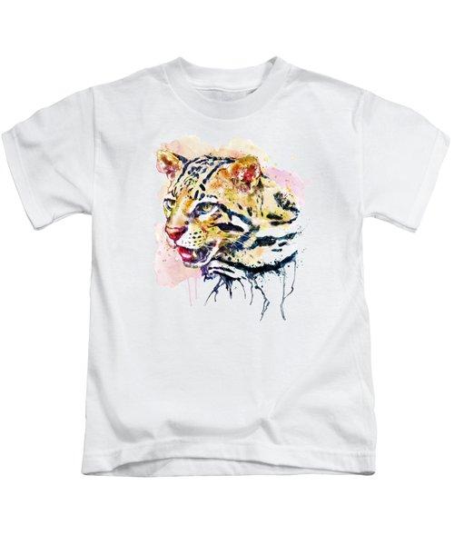 Ocelot Head Kids T-Shirt by Marian Voicu