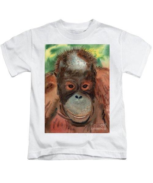 Orangutan Kids T-Shirt by Donald Maier