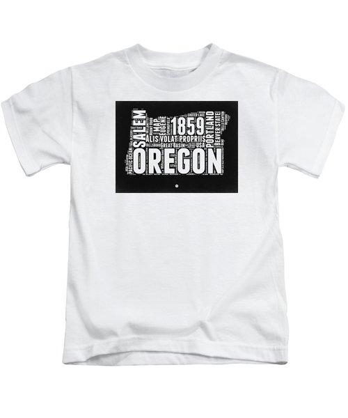 Oregon Black And White Map Kids T-Shirt by Naxart Studio