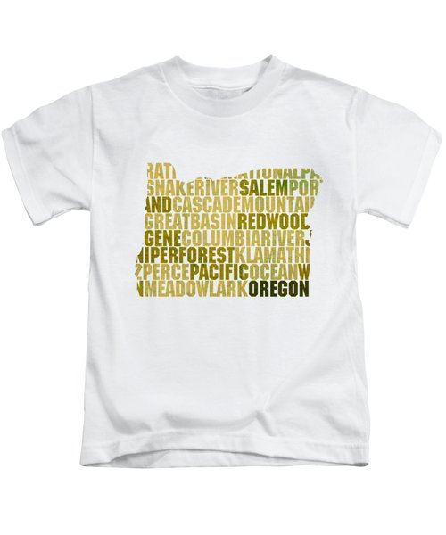 Oregon State Outline Word Map Kids T-Shirt by Design Turnpike