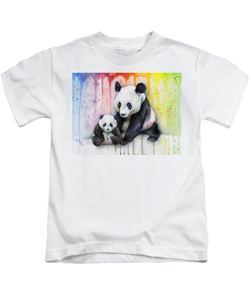 Panda Watercolor Mom And Baby Kids T-Shirt by Olga Shvartsur