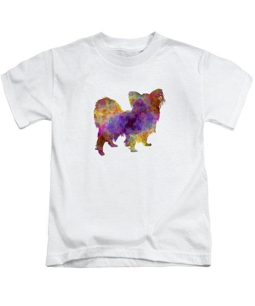 Papillon In Watercolor Kids T-Shirt by Pablo Romero