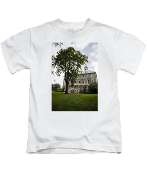 Penn State Old Main From Side  Kids T-Shirt by John McGraw