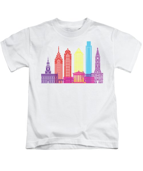 Philadelphia Skyline Pop Kids T-Shirt by Pablo Romero