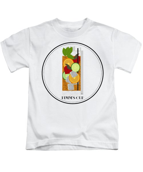 Pimm's Cup Cocktail In Art Deco  Kids T-Shirt by Cecely Bloom