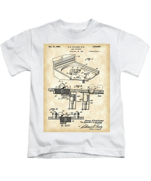 Pinball Machine Patent 1939 - Vintage Kids T-Shirt by Stephen Younts