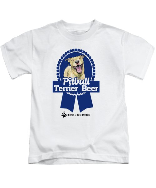 Pit Bull Terrier Beer Kids T-Shirt by John LaFree