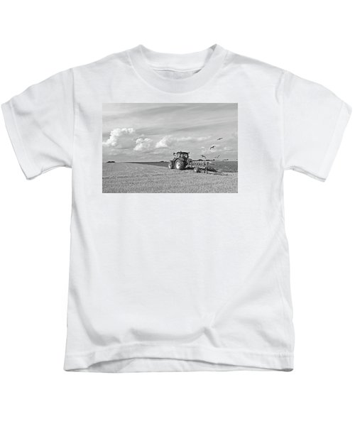 Ploughing After The Harvest In Black And White Kids T-Shirt by Gill Billington