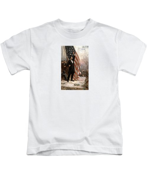 President Abraham Lincoln Giving A Speech Kids T-Shirt by War Is Hell Store