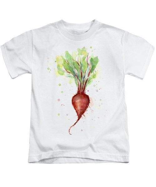 Red Beet Watercolor Kids T-Shirt by Olga Shvartsur