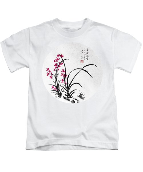 Red Iris - Round Kids T-Shirt by Birgit Moldenhauer