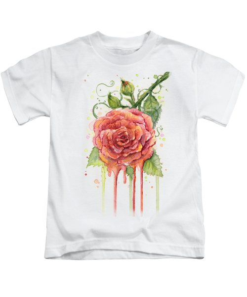 Red Rose Dripping Watercolor  Kids T-Shirt by Olga Shvartsur