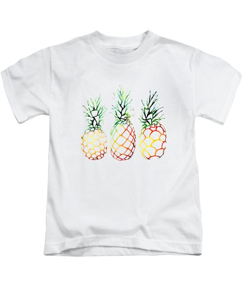 Retro Pineapples Kids T-Shirt by Sam Nagel